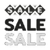 Sale halftone label tag. Dotted grunge stamp from ink splashes. Textured design element for sale. Vector Stock Image