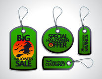 Sale Halloween concept design Tags Set green Royalty Free Stock Photography