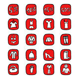 Sale. Hand drawn illustration icons. Hand drawn illustration icons set Isolated on white background royalty free illustration