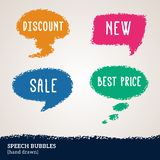 Sale hand drawn multicolored speech bubbles. Vector illustration. Design elements for business events. Pastel crayons or pencil drawing. Can be used for business Stock Image