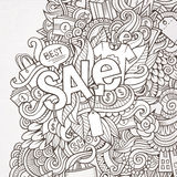 Sale hand lettering and doodles elements Royalty Free Stock Images