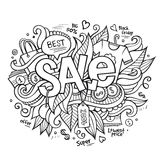 Sale hand lettering and doodles elements Royalty Free Stock Photo