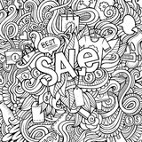 Sale hand lettering and doodles elements background. Royalty Free Stock Image