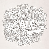 Sale hand lettering and doodles elements Stock Photography