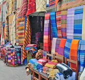 Sale of handmade textiles on the market Stock Photography