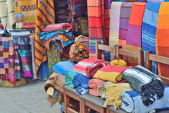 Sale of handmade textiles on the market Royalty Free Stock Image