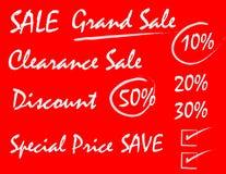 Sale handstilstil på röd bakgrund Vektor Illustrationer