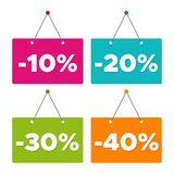 Sale -10%, -20%, -30% & -40% hanging Door Sign. Eps10 Vector. Sale -10%, -20%, -30% & -40% hanging Door Sign. Eps10 Vector illustration Royalty Free Stock Images