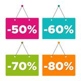 Sale -50%, -60%, -70% & -80% hanging Door Sign. Eps10 Vector. Sale -50%, -60%, -70% & -80% hanging Door Sign. Eps10 Vector illustration Royalty Free Stock Photo