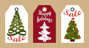 Sale Happy Holidays Decorative Tags New Year Trees royalty free illustration