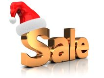 Sale with hat. Golden word sale with hat santa claus  on white background Stock Images
