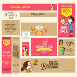 Sale header or banner for Happy Mothers Day celebration. Social media and marketing header or banner set of Big Sale with discount offer for Happy Mothers Day royalty free illustration