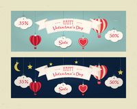 Sale header or banner set with discount offer for Happy Valentine`s Day celebration.  Royalty Free Stock Photos