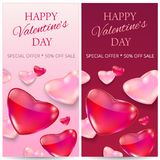 Sale header or banner set with discount offer for Happy Valentine s Day celebration. Vector illustration Royalty Free Stock Photography