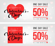 Sale header or banner set with discount offer for Happy Valentines Day celebration. Royalty Free Stock Image