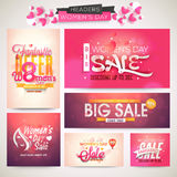 Sale header or banner set for Women's Day celebration. Creative Sale header or banner set with discount offer for Happy Women's Day celebration Royalty Free Stock Images