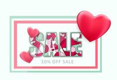 Sale heart seasonal discount vector card Stock Photo