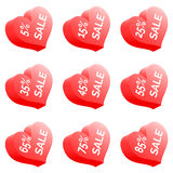 Sale Heart. Set Of Nine Vector Sale Price Signs - Red Heart Royalty Free Stock Image