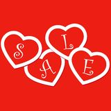 Sale hearts tags stickers Stock Photography
