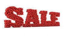 Sale of hearts for Valentine`s Day. 3d illustration. Red Sale of hearts for Valentine`s Day Stock Photography
