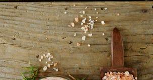 Sale himalayano con i rosmarini in ciotola di legno 4k archivi video