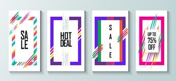 Sale hipster pop art. Sale, hot deal, special offer banners, voucher, poster, business card, brochure, set. Abstract modern art frames collection with motion Royalty Free Stock Image