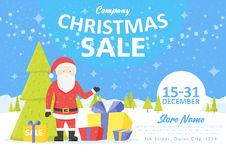 Sale holiday website banner templates. Christmas and New Year illustrations for social media banners, posters, email and newslette Stock Photos