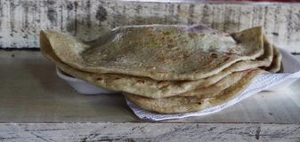 Baleadas on a market stuffed with beans and cream stock image