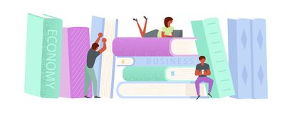 2757_sale. Horizontal Banner template for e-library. Oversize stack of books and tiny people characters online distance studying and education concept. Vector stock illustration