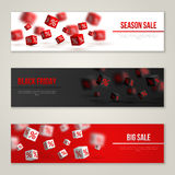Sale Horizontal Banners Set. Vector Illustration. Design Template for Holiday Sale Events. 3d Cubes with Percents. Original Festive Backdrop. Black Friday Royalty Free Stock Photos