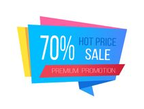 Sale with Hot Prices and 70 Off Promo Sticker. Sale with hot prices and 70 off premium promotional sticker of rectangular shape and blue color isolated vector vector illustration
