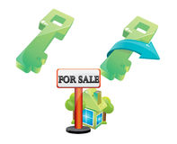Sale house. Green key and sale green house icon Royalty Free Stock Photography