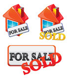 Sale house. House for sale red icon Royalty Free Stock Image