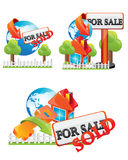 Sale house. House for sale red icon Royalty Free Stock Photos