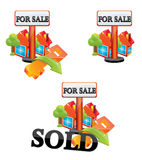 Sale house. House for sale red icon Stock Image