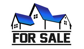 For Sale House logo. Group of houses in perspective for sale Royalty Free Stock Photo