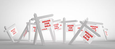 Sale of house. Advertising sale of house on a white background Royalty Free Stock Photo
