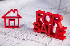 For sale House and achitectural drawings Stock Photography
