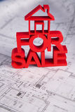 For sale House and achitectural drawings Stock Photo
