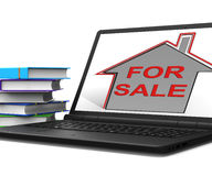 For Sale House Laptop Means Selling Real Estate Royalty Free Stock Image