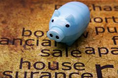 Sale house and piggy bank concept Royalty Free Stock Images