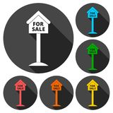For sale house sign, icons set with long shadow Stock Photography