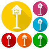 For sale house sign, icons set with long shadow Stock Image