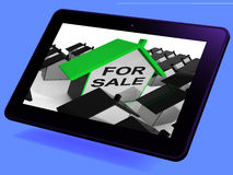For Sale House Tablet Means Real Estate On Market Stock Photos