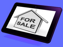 For Sale House Tablet Means Selling Or Auctioning Home. For Sale House Tablet Meaning Selling Or Auctioning Home Royalty Free Stock Images