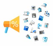 Sale of household appliances and electrical appliances. Royalty Free Stock Image