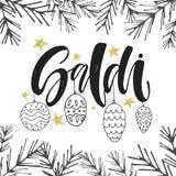 Sale i italienare Det handskrivna bokstäveruttrycket med grafiska leksaker för jul och guld blänker stjärnor omkring Affisch elle vektor illustrationer