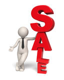 Sale icon - 3d business man. 3d business man standing near a big red sale text - Image with soft shadows Stock Images