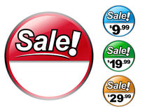 Sale Icon Price Set. Choose from four different  sale pricing icons. Add your own price or discount in the white area Royalty Free Stock Image