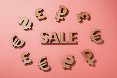 Sale icon surrounded by world currency signs. Sale background, pink nice background vector illustration